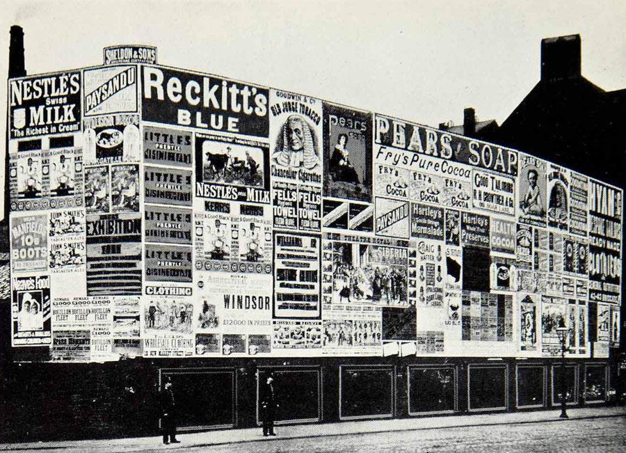 Pubblicità in strada nel 1889