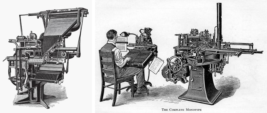 Una macchina Linotype e una Monotype