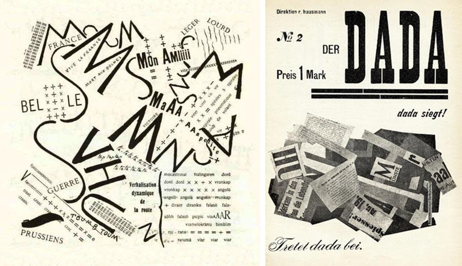 Esempi di composizione tipografica futurista (a sinistra) e dadaista